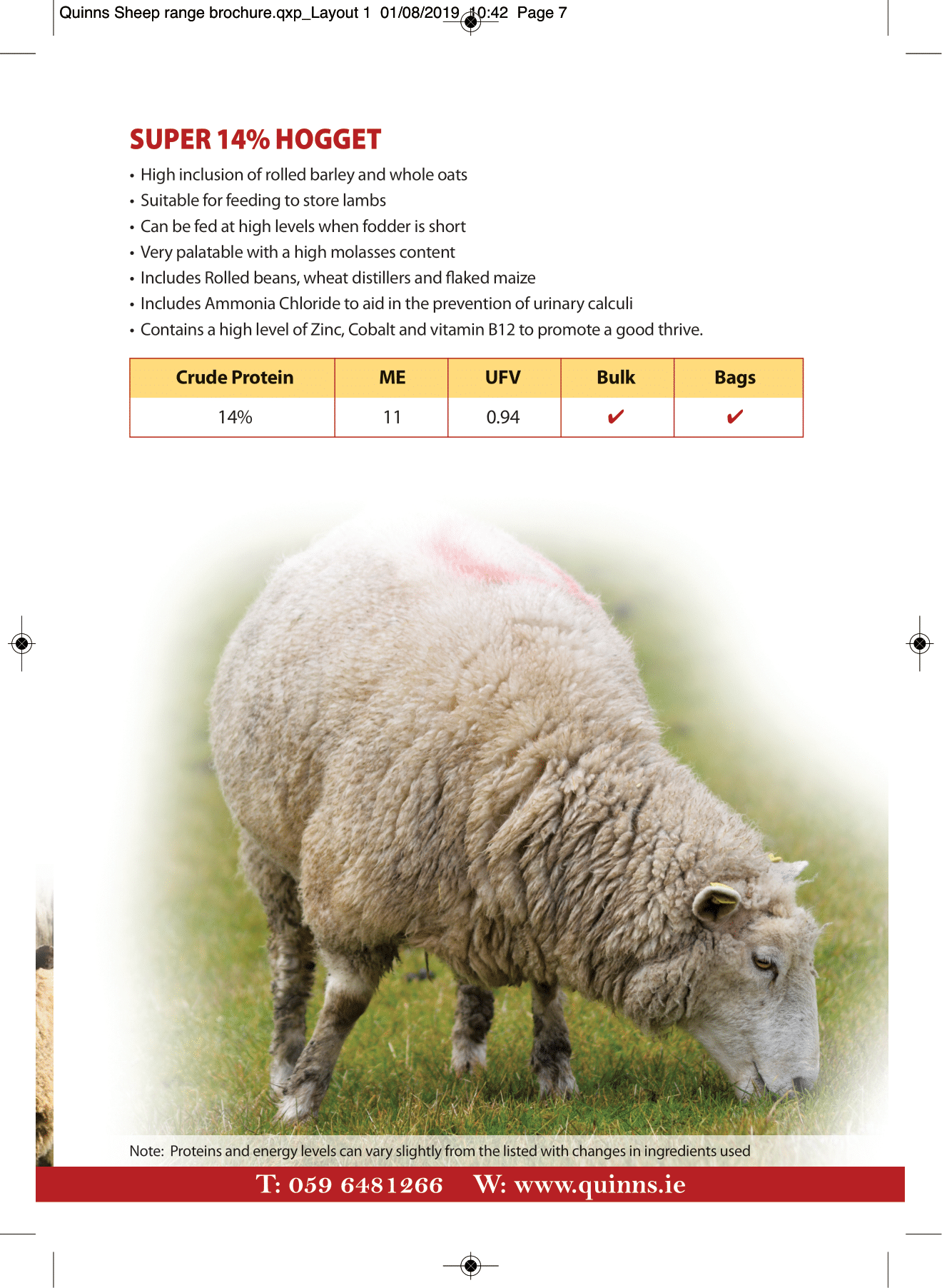 Quinns Sheep range brochure AW-7