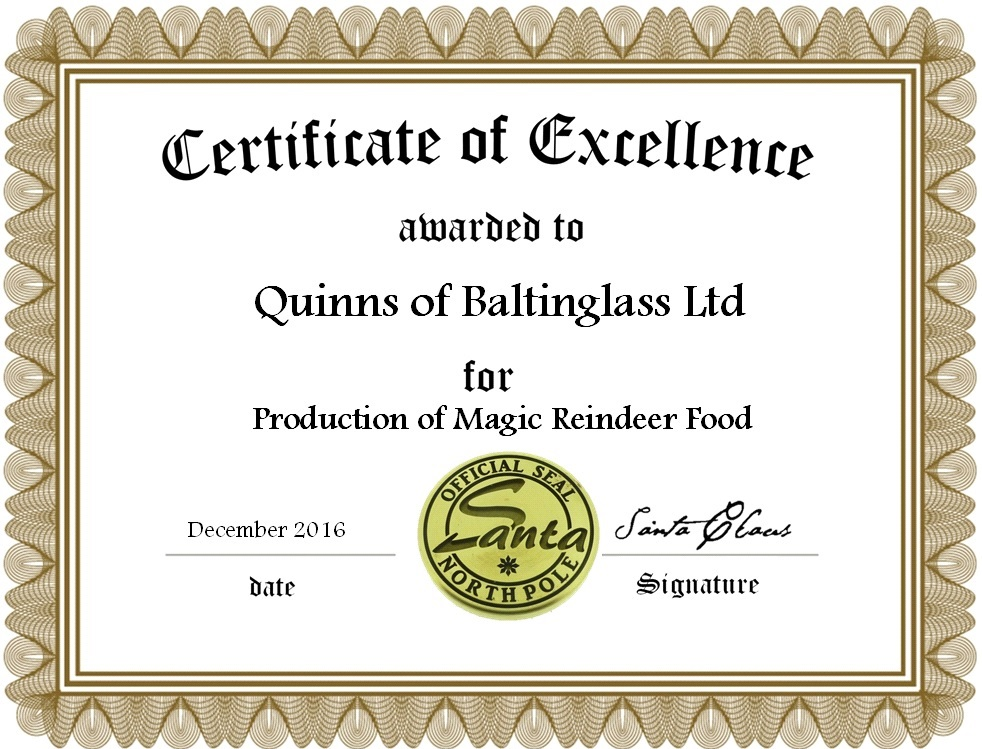 Quinns Of Baltinglass Awarded First Ever Magic Reindeer Food Licence