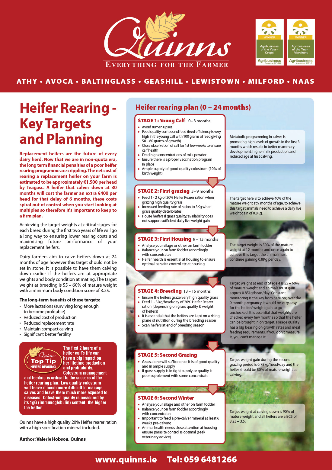 May newsletter Heifer Rearing - Key Targets and Planning